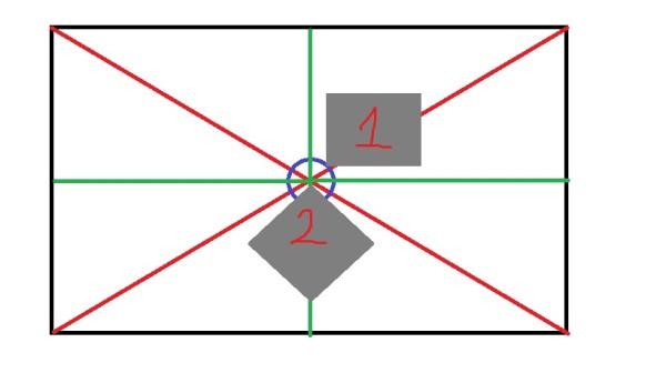 1 – разметка под оклейку по диагонали; 2 – разметка под параллельную оклейку;