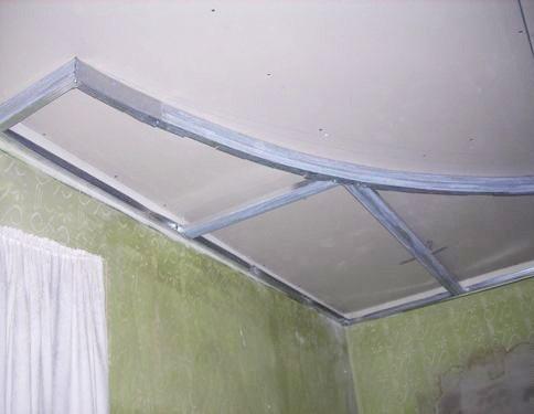 Монтаж двухуровнего потолка простейшей конструкции