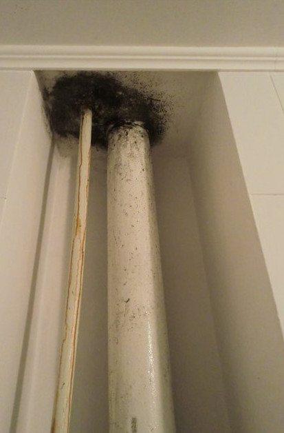 В результате - постоянно мокрый потолок, покрытый обильной плесенью.