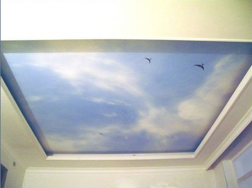 Фотообои на потолке выглядят не хуже, чем натяжной потолок с фотопечатью