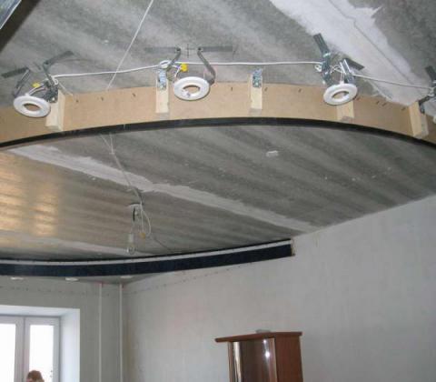 Конструкция двухуровнего потолка без финишной отделки