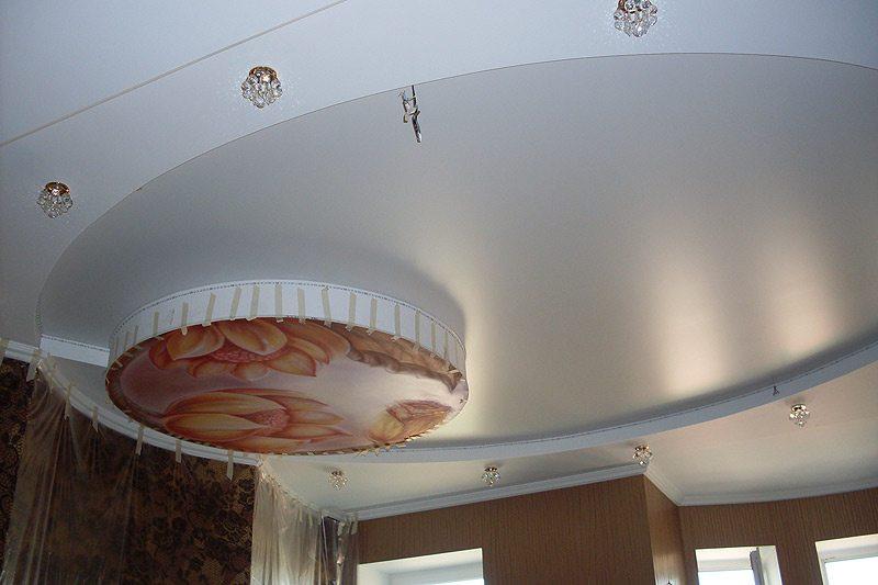 Матовые потолки натяжные в гостиную – классический стиль.