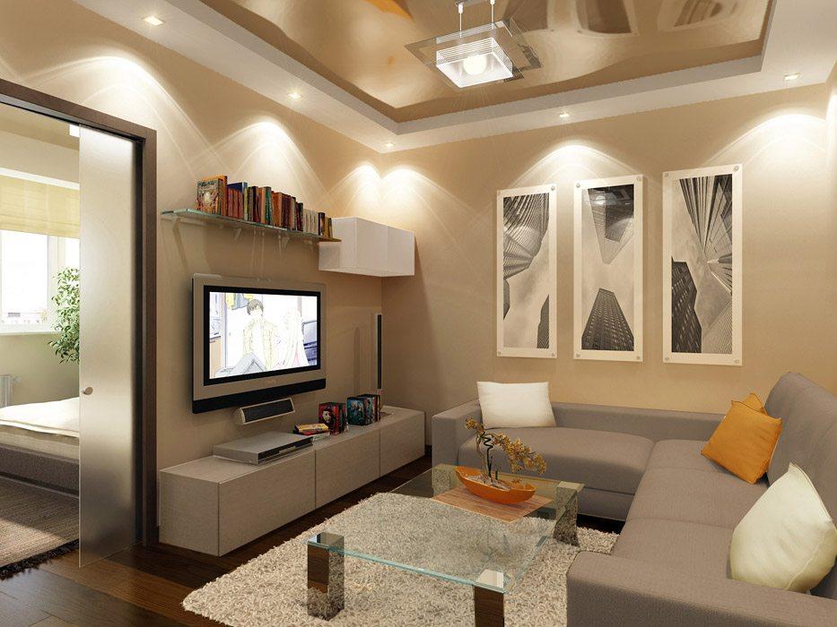 Для освещения комнаты с низкими потолками следует использовать припотолочные и встраиваемые точечные светильники