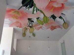 Потолок с принтом должен согласовываться с общей идеей интерьера гостиной, ведь такая поверхность всегда будет привлекать внимание