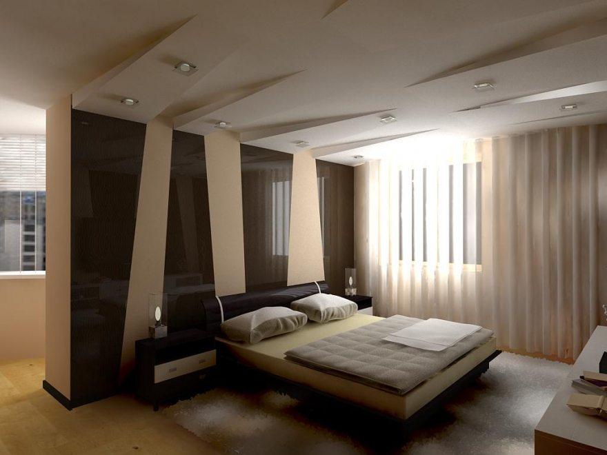 Оформление спальни с низкими потолками