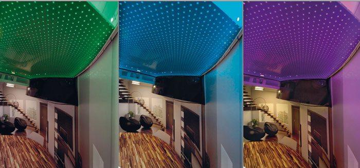 Внешний вид натяжных акустических потолков