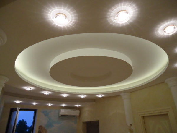 Алюминиевый потолочный диск с подсветкой.
