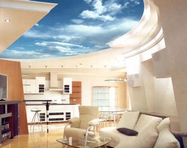 Бесподобный многоуровневый потолок с имитацией неба