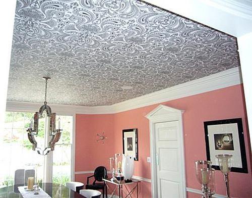 Полотно стеклохолста (стекловолоконных обоев) - успешно решает вопрос, чем обшить потолок на кухне