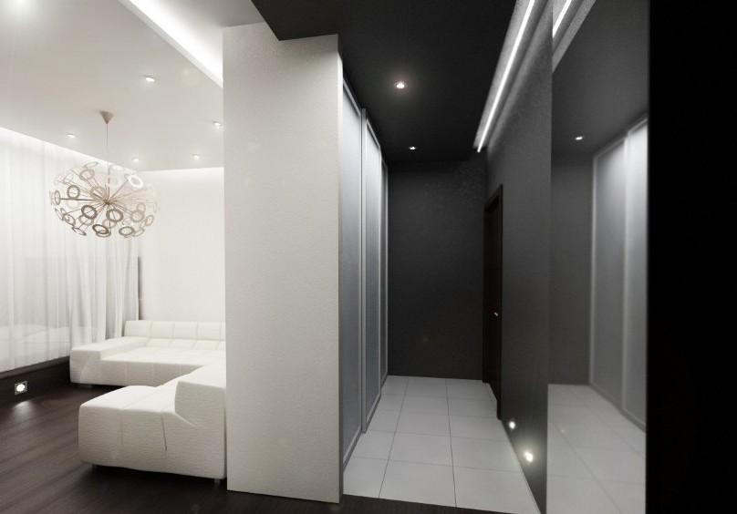 Черный потолок и пол.