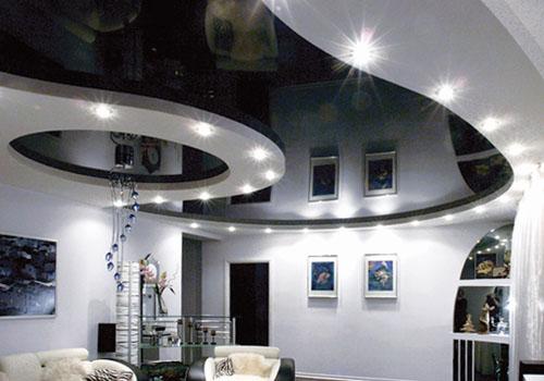 черный глянец потолок фото