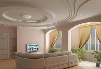 Многоярусный фигурный подвесной потолок