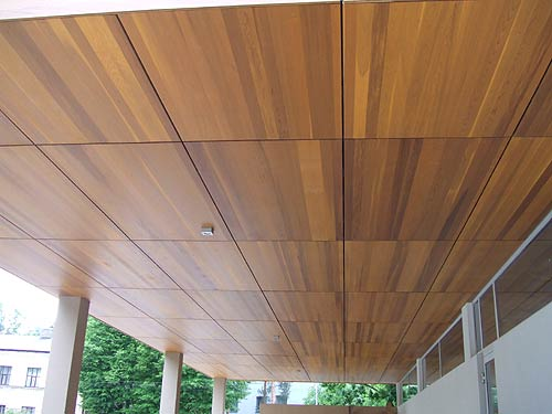 Для облицовки вне помещений лучше использовать потолочные панели под дерево из пластика и других влагостойких материалов
