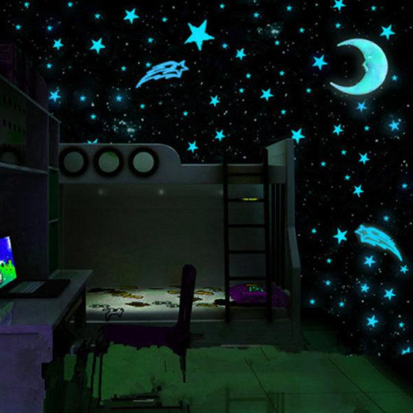 Детская комната, оформленная люминофорными обоями.