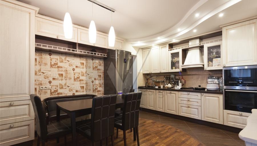 дизайн потолка из гипсокартона на кухне фото