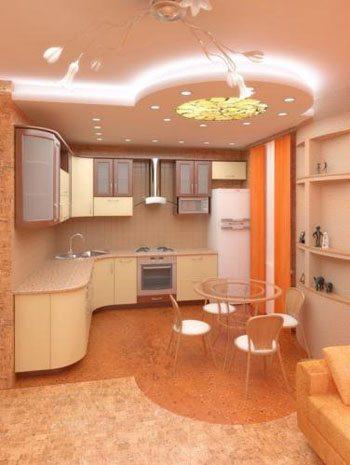 Дизайн кухонного потолка из гипсокартона