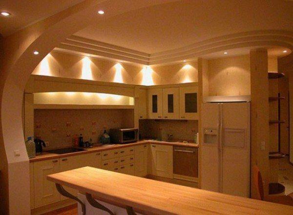 Дизайн потолков из гипсокартона кухня