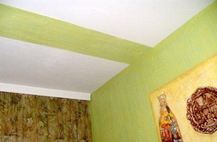 Потолок с использованием декоративно штукатурки