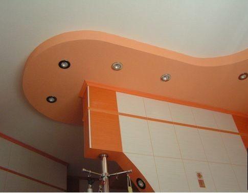 Вариант дизайна кухонного потолка
