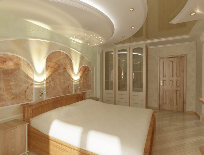 Красивые потолки в спальне, их современный модный дизайн, материал, изготовленный по новейшим технологиям, подходящий цвет, геометрическое оформление улучшат как физическое здоровье, так и психоэмоциональное