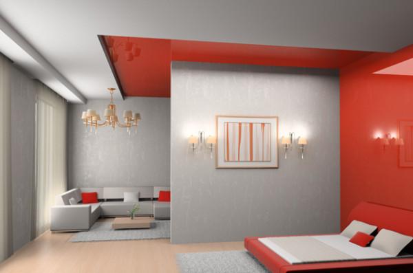 Дизайн цветного натяжного потолка может идеально сочетаться не только со стенами, но и с элементами мебели и аксессуаров