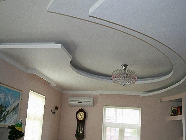 Фигурный из гипсокартона потолок