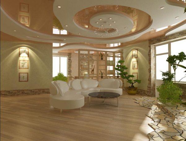 Фото прекрасной многоуровневой потолочной конструкции со встроенной подсветкой