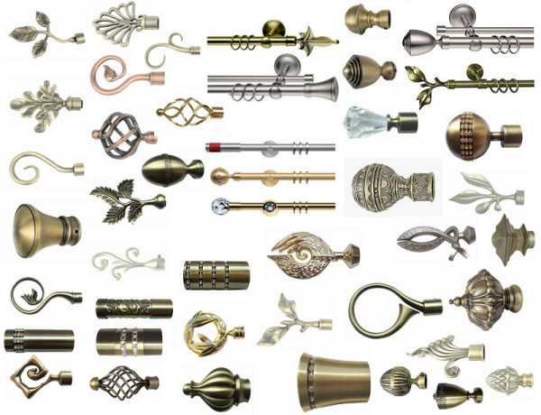 Фото разнообразных наконечников для карнизов