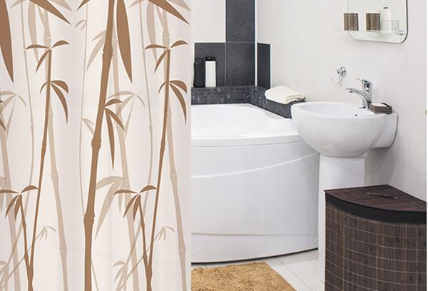 Фото угловой ванны: нуждается в специальном карнизе для подвешивания защитной шторки.