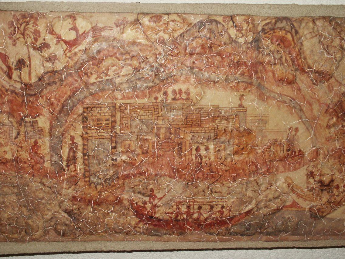 Античная фреска найдена в городе Акротири, Греция.