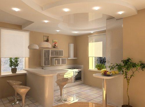 Гипсокартон неидеален для кухни, однако позволяет создать великолепный потолок
