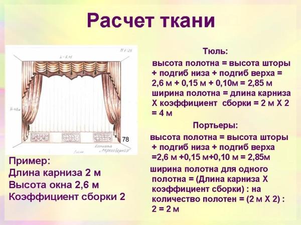 Инструкция по расчету ткани на примере двухметровой штанги