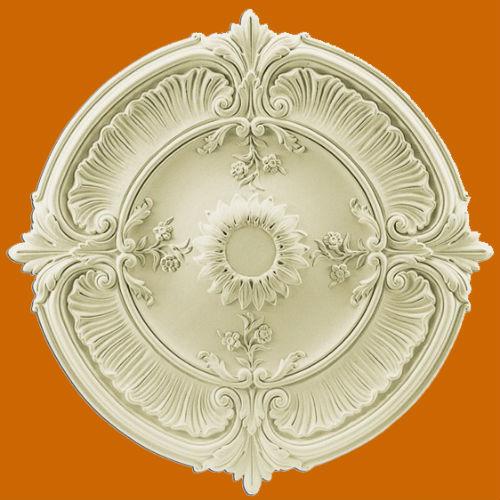 Розетка потолочная в стиле барокко из полиуретана.