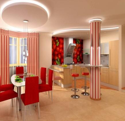 Двухуровневые потолки - интерьер кухни.