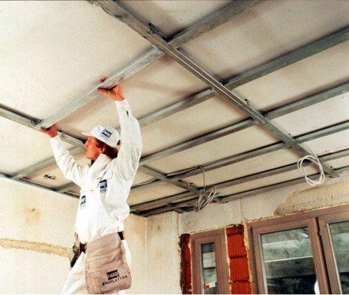 Монтаж каркаса под навесной потолок