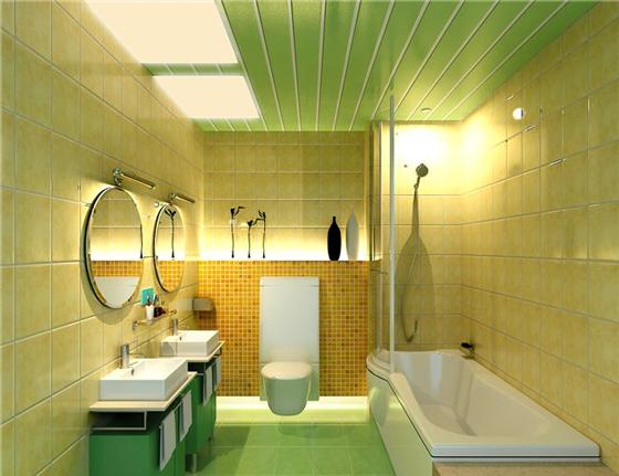Готовый дизайн ванны, потолок которой обшит пластиковыми панелями
