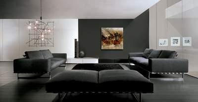 Простой потолок гостиной в стиле техно