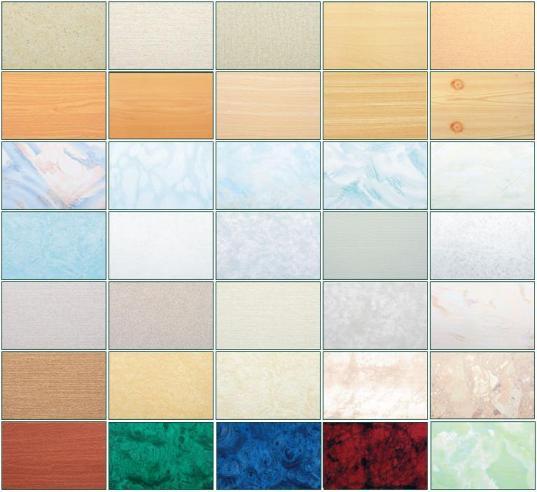 Некоторые из доступных расцветок и фактур пластиковых панелей