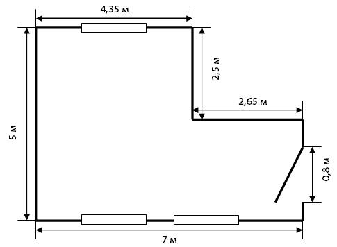 И здесь расчет несложен. Достаточно мысленно разделить комнату на два прямоугольника.