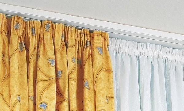 Как повесить тюль на потолочный карниз или шторы, изготовленные из других материалов?