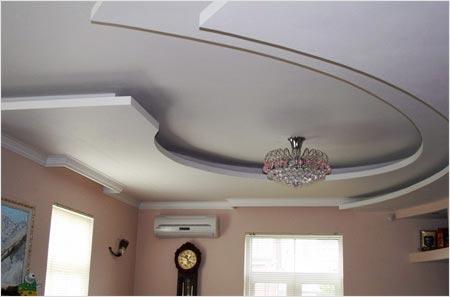 Декораторский потолок с гипсокартонными элементами