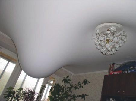 Типичная картина затопления в квартире с натяжными потолками