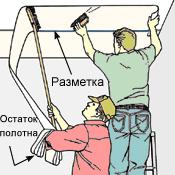 Схема приклеивания обоев к потолку