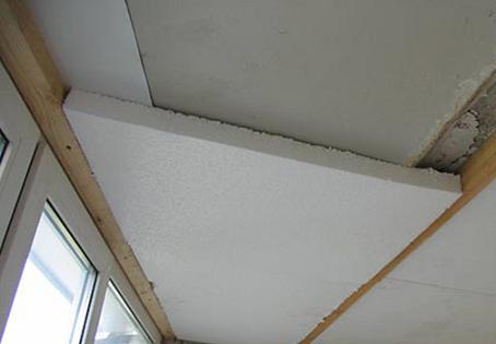 Утепление балконного потолка пенопластом