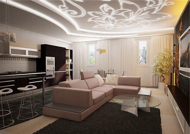 Белый потолок просто здорово сочетается с другими цветами.