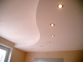 Окрашенный двухуровневый кухонный потолок из гипсокартона с подсветкой