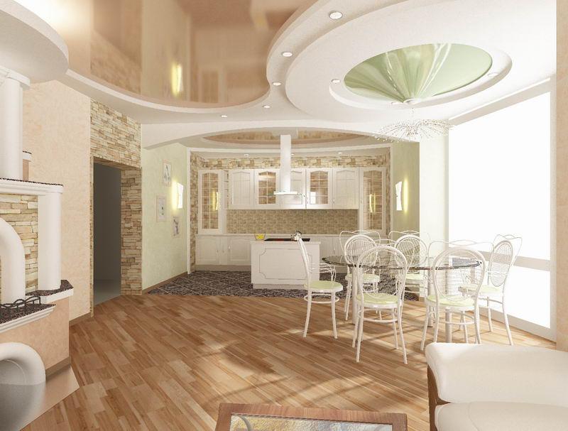 Красивый и практичный натяжной потолок в кухне