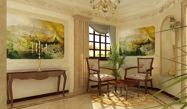 Основой классического стиля является сочетание белого цвета потолка с элегантными пастельными тонами и строгая симметрия всех элементов декора.