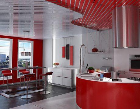 Для кухни реечный потолок - идеальное решение.