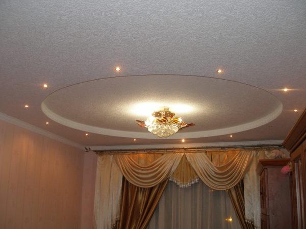 Круг из гипсокартона на потолке